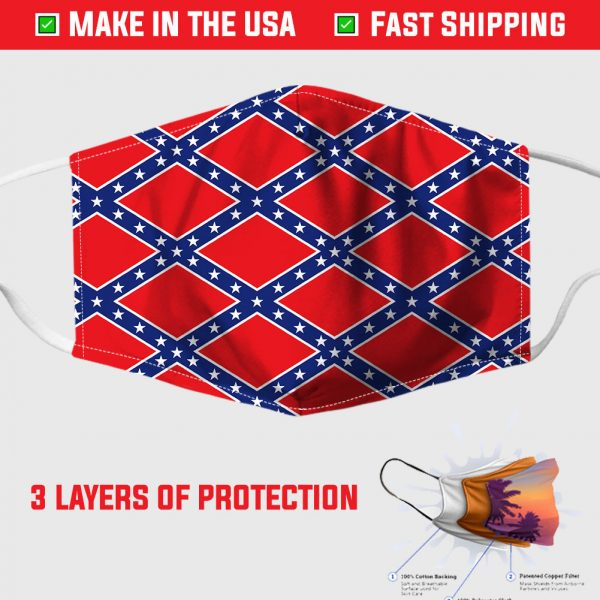 confederate flag pattern face mask 155572
