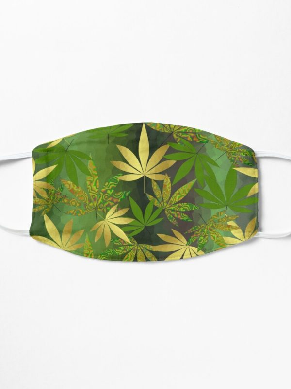 gold weed leaves fabric face mask 155566 1