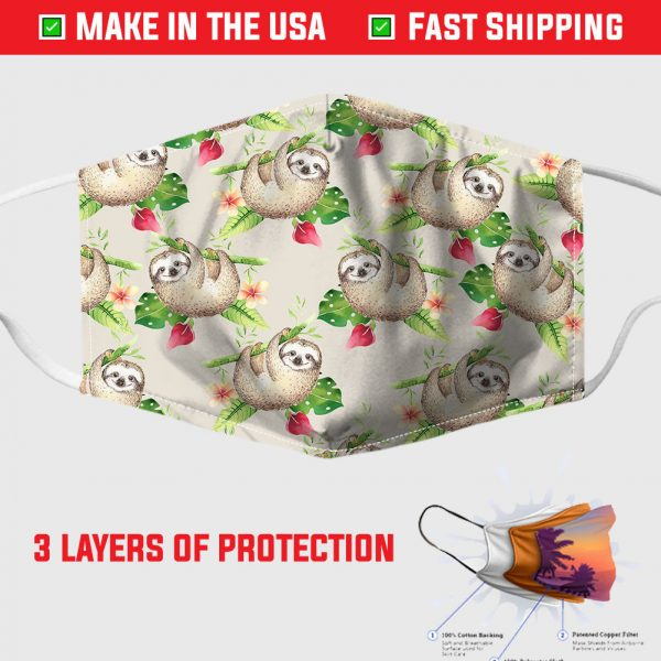 snoozies sloths fabric face mask 155530