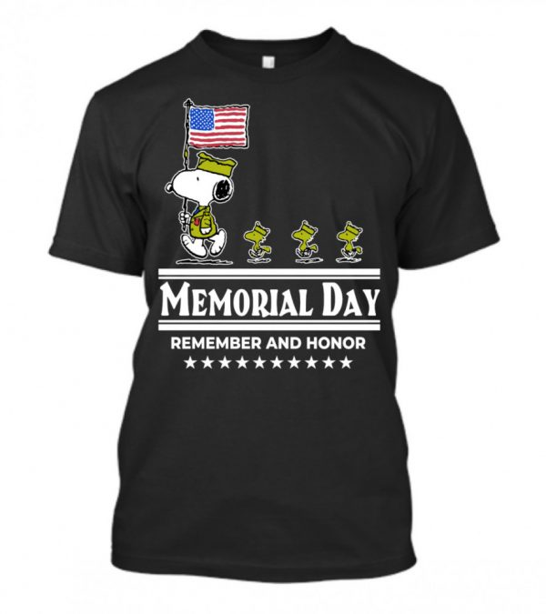Snoopy And Woodstock Memorial Day Remember And Honor Shirt